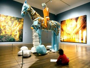 Matilda Cumming, 2, draws one of the exhibits at the Museum of Fine Arts  Friday, September 30, 2011  in Montreal. Montreal's Museum of Fine Arts is unveiling a new wing dedicated to Quebec and Canadian art later this month, only the latest addition to the city's already bustling cultural scene.THE CANADIAN PRESS/Ryan Remiorz